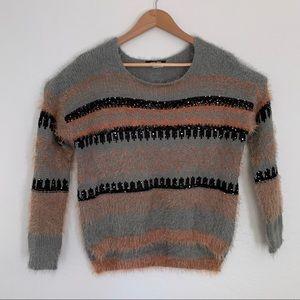 West 36th fuzzy sweater long crop